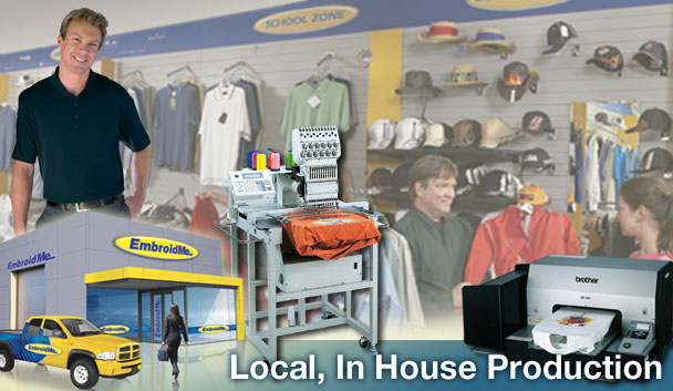 EmbroidMe-Livermore offers Local, Expert Quality to all of our Embroidery & Promo Product clients needs.